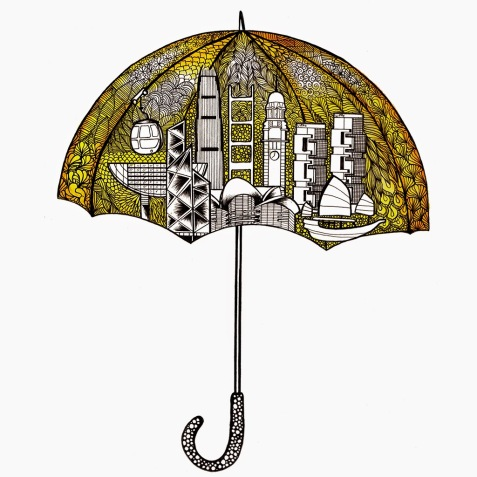 Artwork by Simbie Yau http://simbieyau.blogspot.ckong-umbrella movement.html