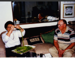 Mom and Dad visit 1995 - Mom cooks 院子里长豆 or  Yuànzi lǐ cháng dòu or long beans
